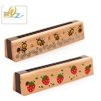 MWZ Wooden Cartoon Children Harmonica 13CM 16 Holes 17CM 24 Holes Kids Music Instrument Toys Early