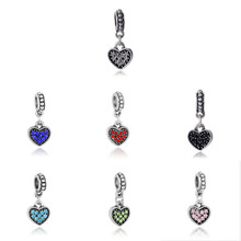 1pcs 7color rhinestone paved heart hanging dangle bead charm Fits  style bracelet beads charms DGB097