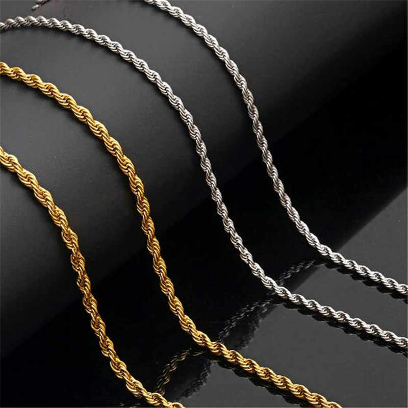 316L Stainless Steel Width 3mm/4mm/5mm Gold Silver Necklace Men Rope Chain Twisted Necklaces Jewelry 20-30inch Length