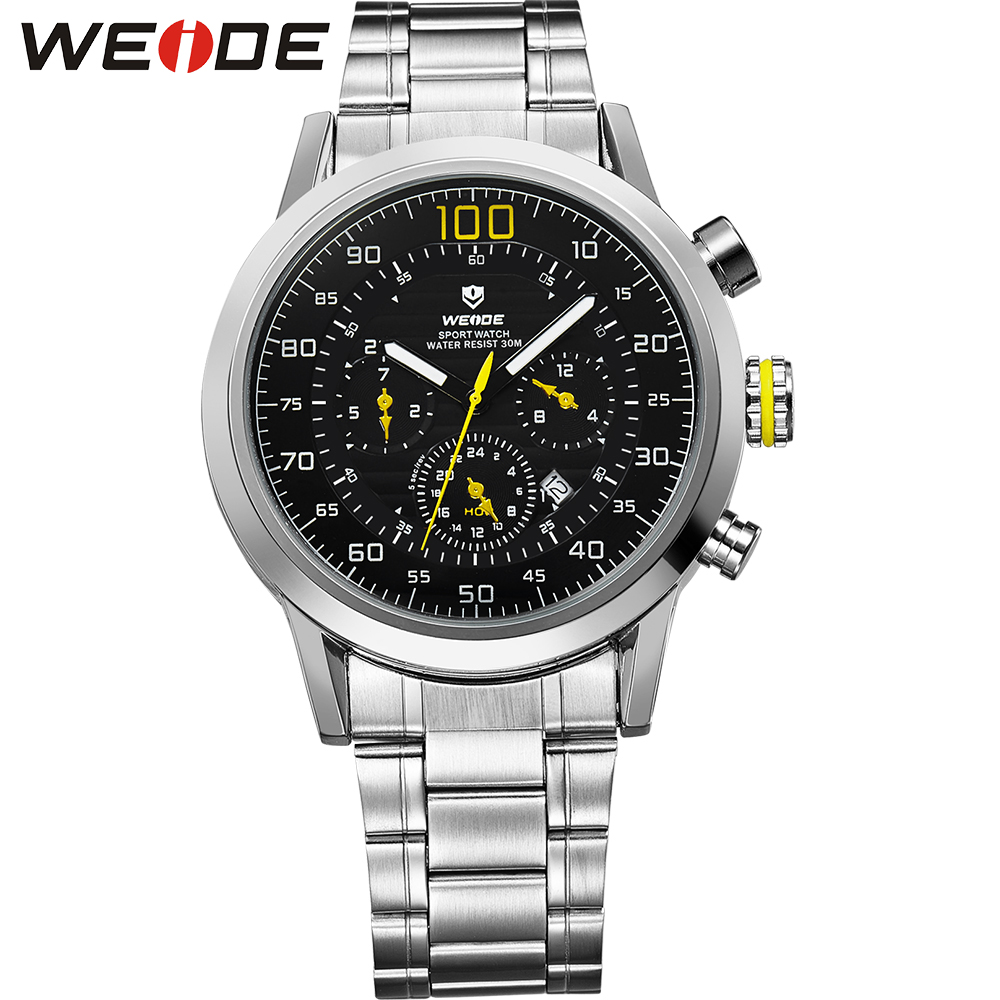Original WEIDE Brand Watch Men Sports Quartz Water Resistant Military Watches Japan Movement Stainless Steel Band Metal Gift Box