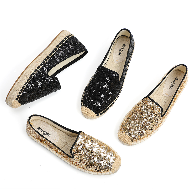 Sequined cloth upper, platform espadrilles, close toe in gold and black color-in Women's Flats from Shoes    1