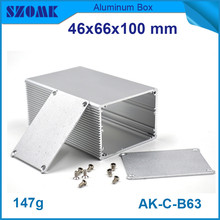 10pcs/lot electronic aluminum extrusion cabinet in silver color switch case housing 46*66*100mm