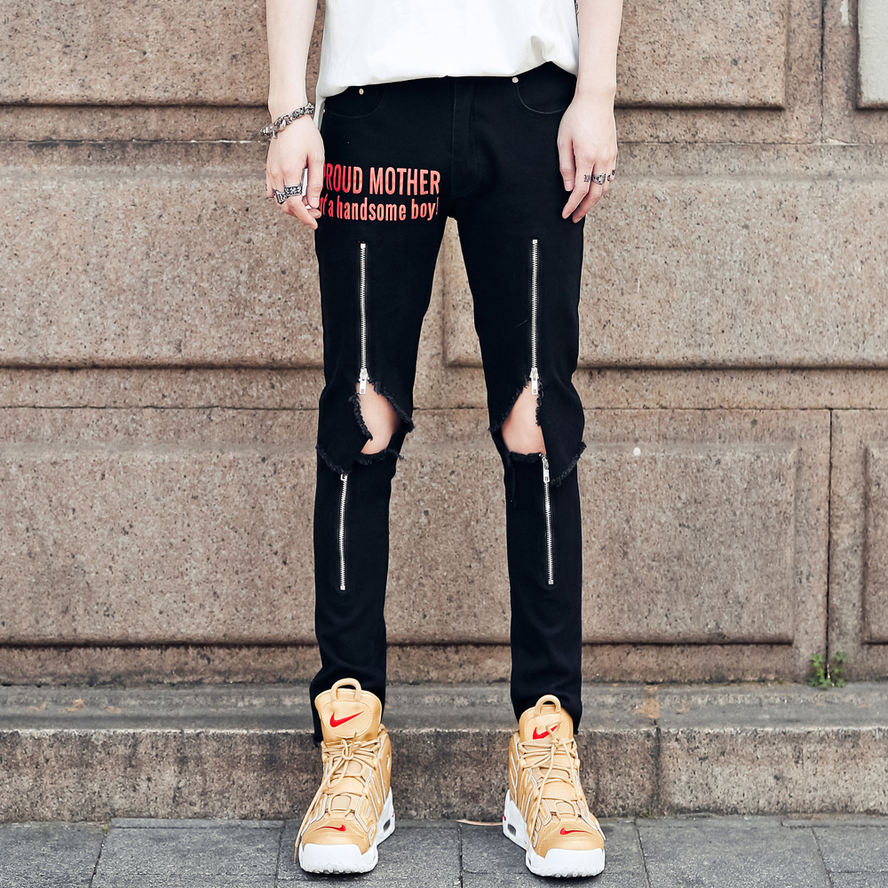 2018 Summer Letter Printing Zipper Decoration Holes Man Nine Part black Jeans hip hop streetwear The new listing Free shipping
