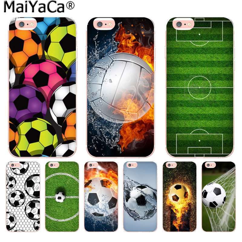 MaiYaCa Fire Football Soccer Ball Luxury High-end phone Accessories Case for iPhone 8 7 6 6S Plus X 10 5 5S SE 5C 4 4s