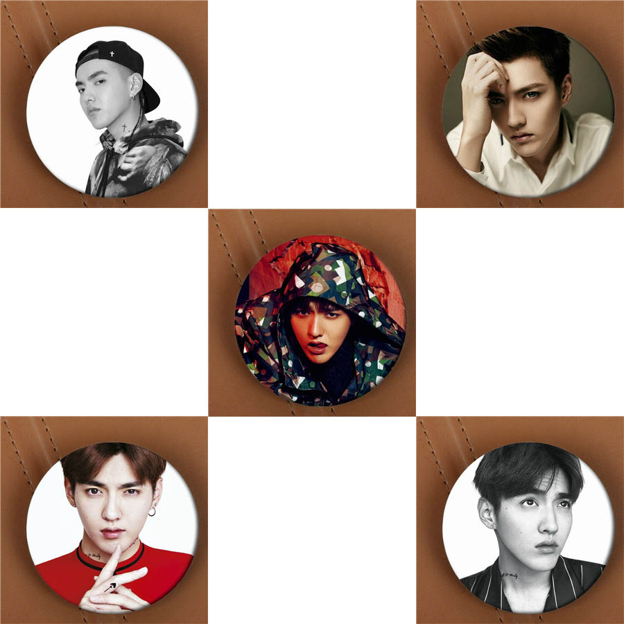 Youpop KPOP EXO EXO-M KRIS WU Album Brooch K-POP Pin Badge Accessories For Clothes Hat Backpack Decoration HZ1636 bts taehyung warriors