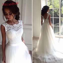 NIXUANYUAN New Lace O-Neck Lace Tulle Boho Cheap Wedding Dress 2018 Beach Bridal Gown Bohemian Wedding Gowns robe de mariage 2