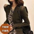 Envío gratis nueva moda 2013 primavera y otoño invierno mujeres de pequeña chaqueta de punto cálido suéter suéter casual femenino verde del ejército