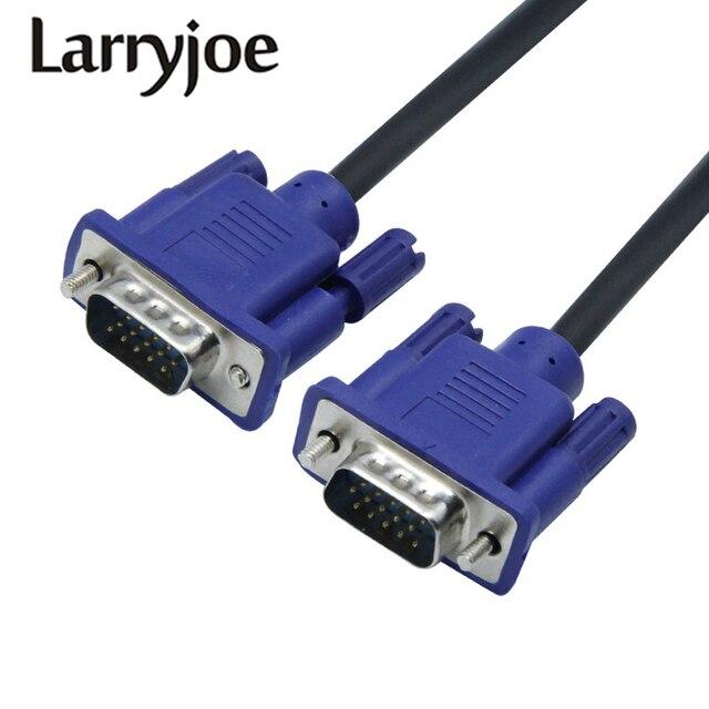 Larryjoe 1.5m przedłużacz VGA HD 15 Pin z męskiego na męskie kable VGA przewód drutowy rdzeń miedziany do komputera monitor komputerowy projektor