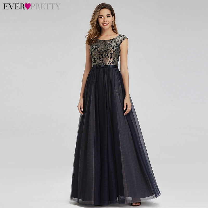 Contrast Color   Evening     Dresses   Ever Pretty EP00976 A-Line O-Neck Lace Elegant Formal Party Gowns Patchwork Robe De Soiree