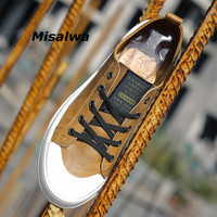 Misalwa Luxury Men Shoes Spring/Autumn Mocassins Leather Teenager Brown Shoes Comfortable Casual Platform Sneakers Dropshipping