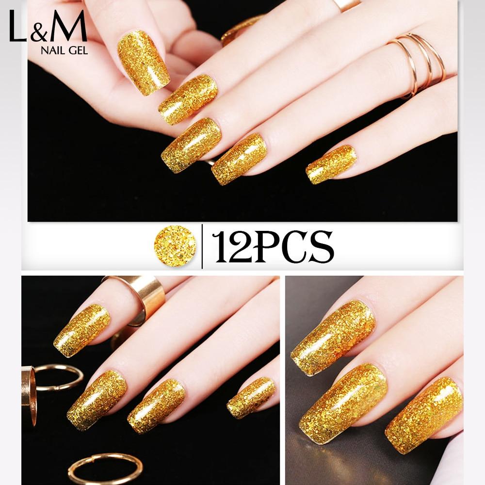 12pcs Nail Art Designs Lvmay Brand Diamond Glitter Uv Lamp Nail ...