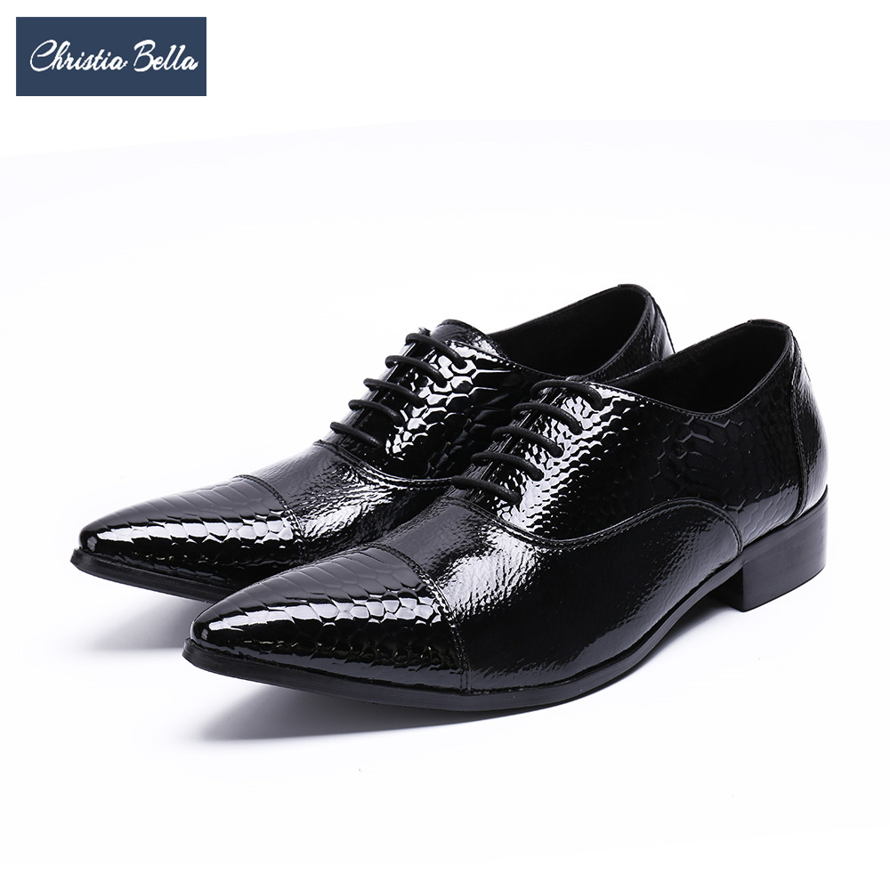 Christia Bella 2018 Genuine Leather Men Oxford Shoes Fashion Pointed Toe Men Brogue Shoes Lace Up Business Formal Dress Shoes black white genuine leather mens dress shoes fashion pointed toe oxford shoes for men formal shoes business lace up high heels