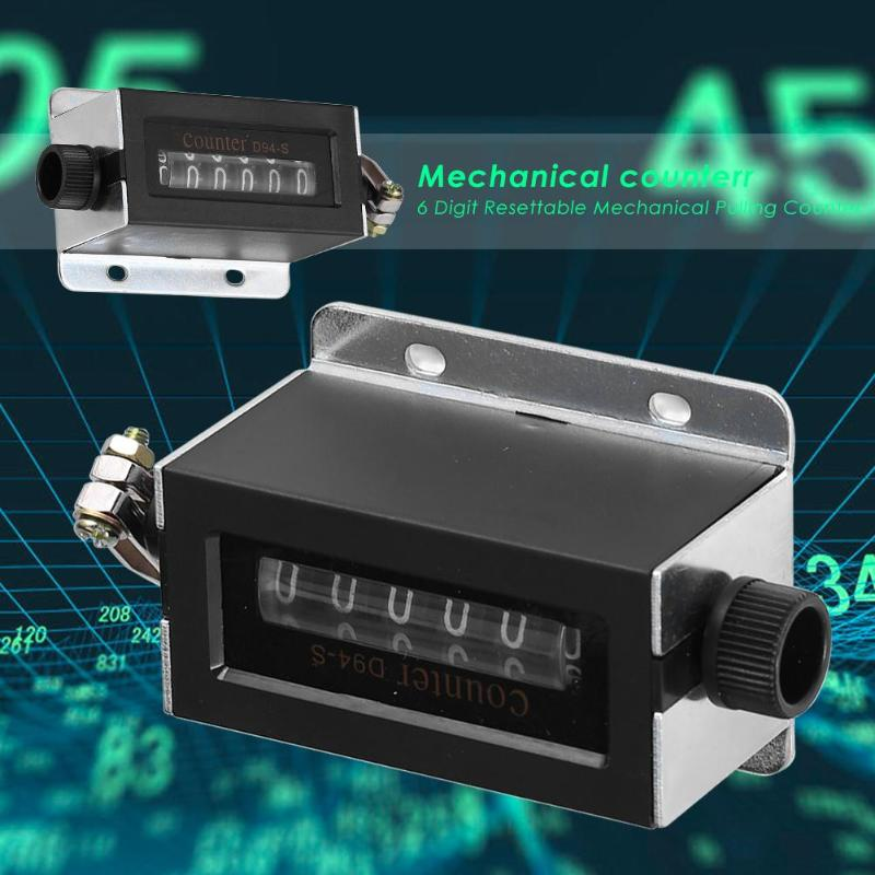 6 Digit Mechanical Counter,0-999999 Mechanical Pulling Counter Digit Resettable Mechanical,Return to Zero Rotation Count and Cycle Count Reset Mode