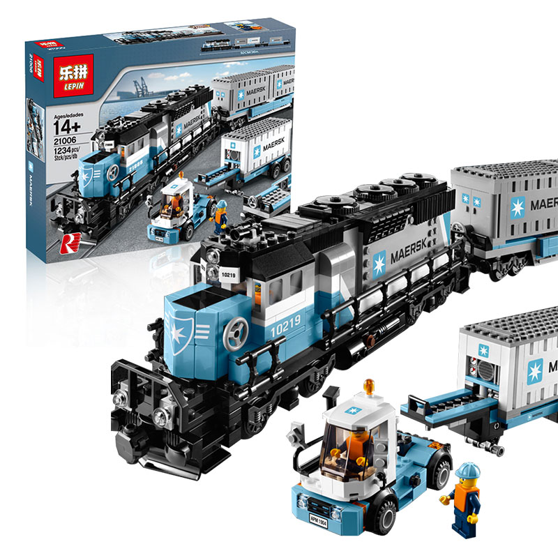 1234pcs Creative Technology Series Maersk Train Building Blocks Kit Toy DIY Educational Children Christmas Gifts