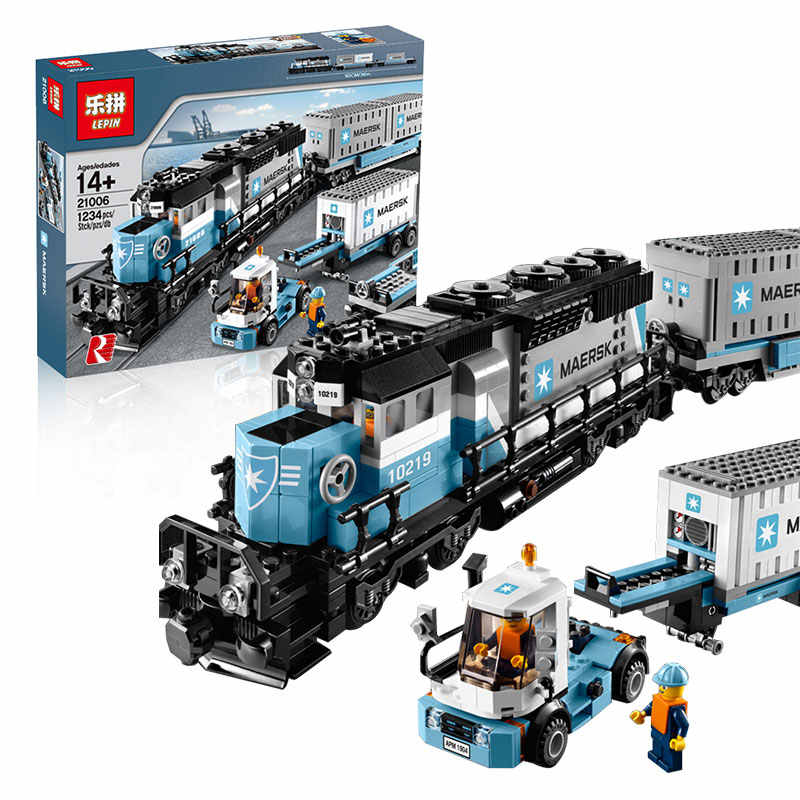 1234pcs Creative Technology Series Maersk Train  Building Blocks Kit Toy DIY Educational Children Christmas Gifts