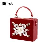 BBirds Women Luxury Evening Bags Wedding Party Pearl Flower Bride Handbag Crossbody Velour Hard Box Clutch Crystal Chain Bag