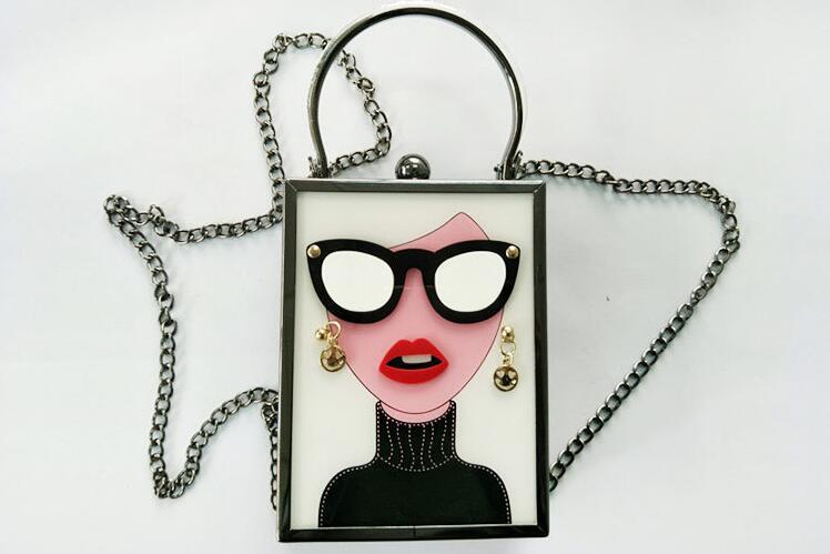 2018 New Fashion Women Karl Acrylic Cartoon Chain Shoulder Crossbody Bag