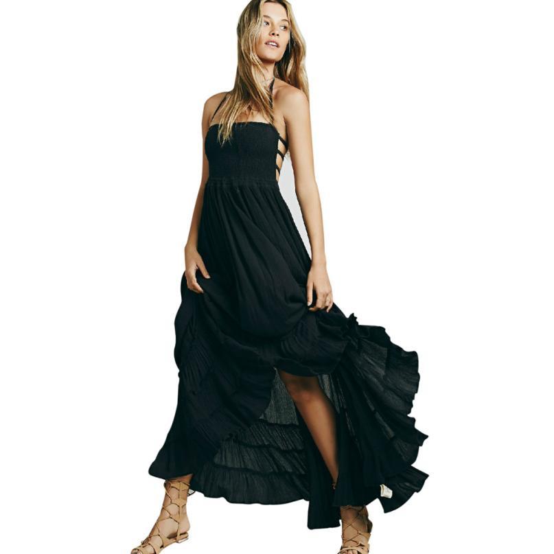 snowshine YLI Womens Ladies Summer Dress Long Maxi Strappy Dress Beach Evening Party Sundress free shipping