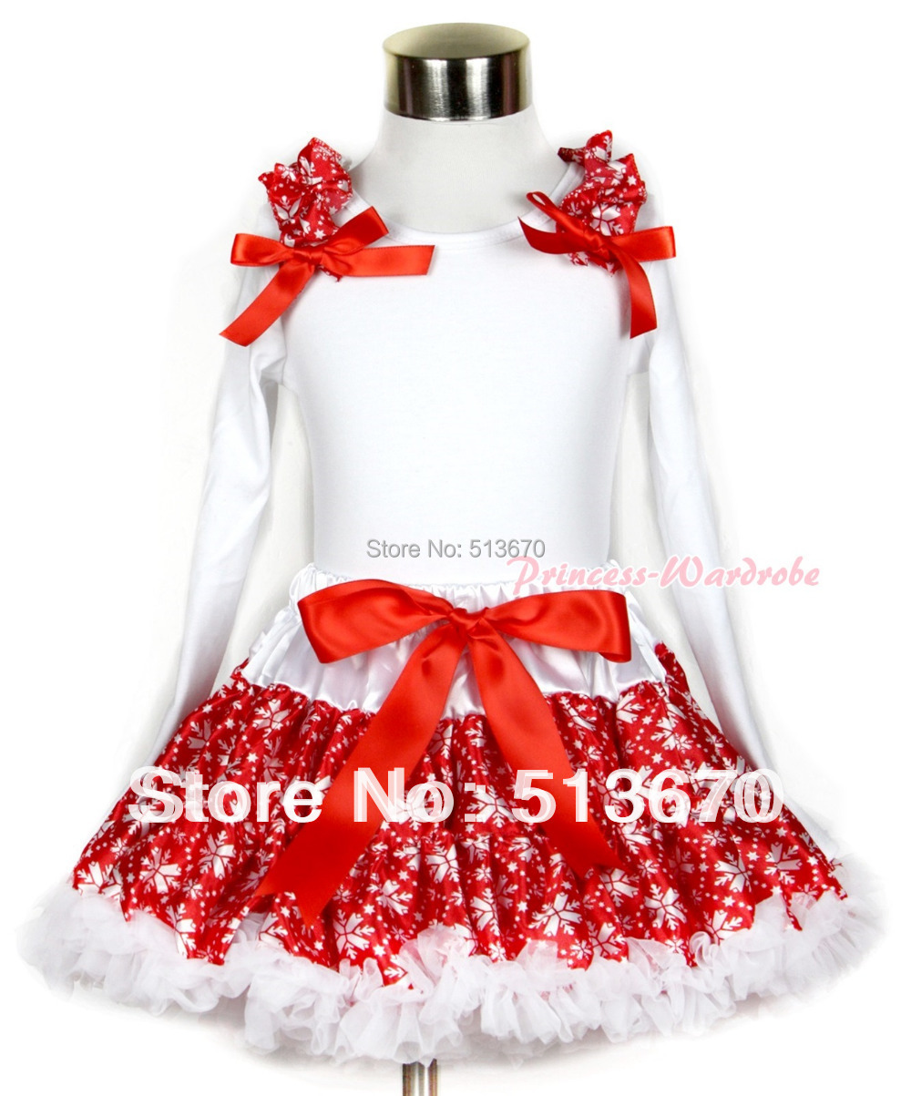 Xmas Red Snowflakes Pettiskirt with Matching White Long Sleeve Top with Red Snowflakes Ruffles & Red Bow MAMW257