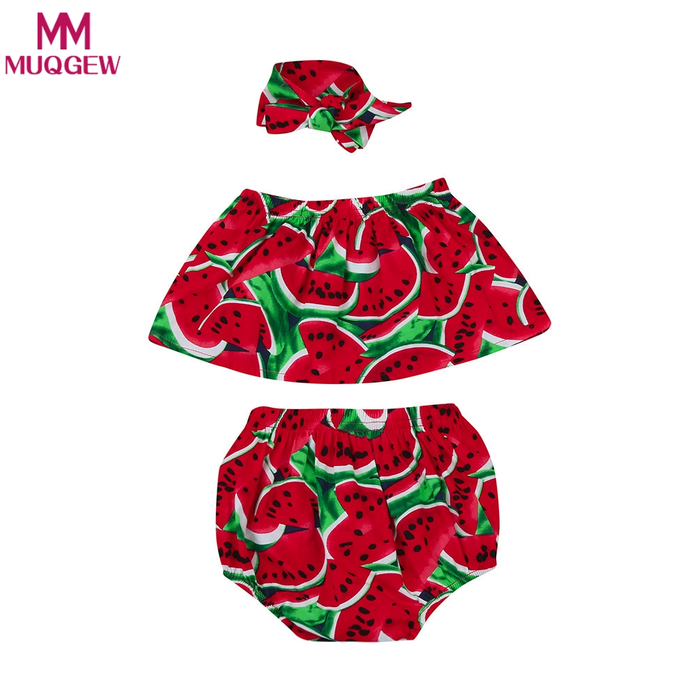 Newborn Kids Baby Girls Set Off Shoulder Tops + Shorts Pants +Hairband 3pcs 2018 Summer Toddle Kids Outfits Watermelon Clothes off shoulder tops t shirts denim pants hole jeans 3pcs outfits set clothing fashion baby kids girls clothes sets