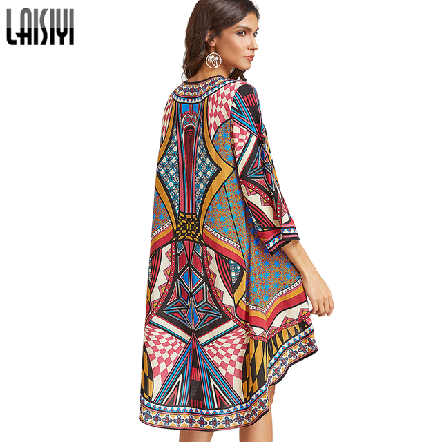 LAISYI Colorful Print Long Blouses Boho Cardigan Summer Tops Beach ...
