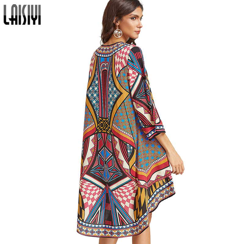LAISYI Colorful Print Long Blouses Boho Cardigan Summer Tops Beach Shirts Women Long Sleeve Woman Clothes Blusas ASBL20054