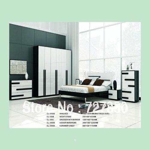 5 unids juegos de dormitorio con plena roble negro melamina + HG ...