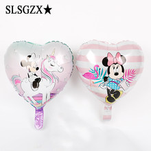1pcs/lot 18inch heart Mickey Minnie riding cute pony aluminum balloon children's birthday party wedding decor supplies air ball(China)