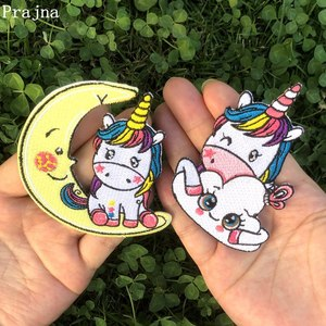 Prajna Unicorn Llama Patches Kawayi Cartoon Iron On Embroidered Patch For Clothes Stickers DIY Decoration Stripe On Clothes