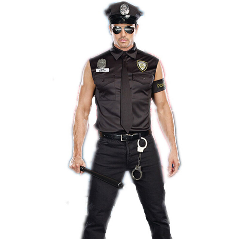 Umorden Halloween Kostymer Voksen Amerika US Police Dirty Cop Officer Kostyme Topp skjorte Fancy Cosplay Klær for menn
