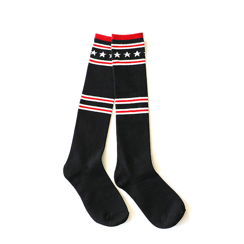 Stars Girls Long Tube Socks Fashion College Style Lady Soft Boots Hosiery Cotton Women Stocking Deodorant Breatheable Comfort
