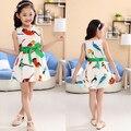 Novo Vestido de Verão Meninas Vestido de Princesa Crianças Vestido de Roupas infantis Crianças Moda Vestido com Estampa De Pássaros