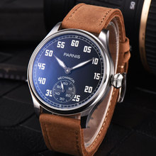 цена 44mm parnis Black Dial Stainless steel Case Leather strap 6498 Hands Wind Movement men's Watch онлайн в 2017 году