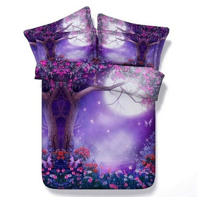 High Quality 3D Purple Comforter Sets Flower Bedding Queen Full Super King Size Twin  Bedspreads Bed Linen Quilt