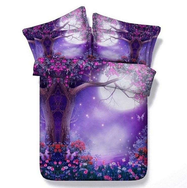 3D Purple comforter sets flower bedding queen full super king size twin bedspreads bed linen quilt duvet cover sheet double 5pcs