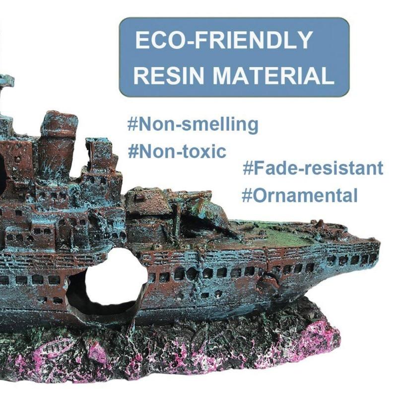 Aquarium Ship Decoration Boat Pirate Ship Wreck Hollow Ship Aquarium Fish Tank Landscaping Pirate Dodge House Ornaments Warship Pakistan