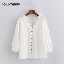 цена на Three Quarter Sleeve Blouse Shirt Women Spring V-neck Lace Blouse White Plus Size 3XL 4XL KKFY2660