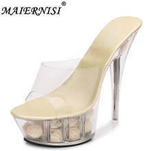 Wedding Shoe Woman Platform Slippers Summer Multicolor Rose Flower Slides Waterproof 15CM Nightclub Sexy High-heel Shoes