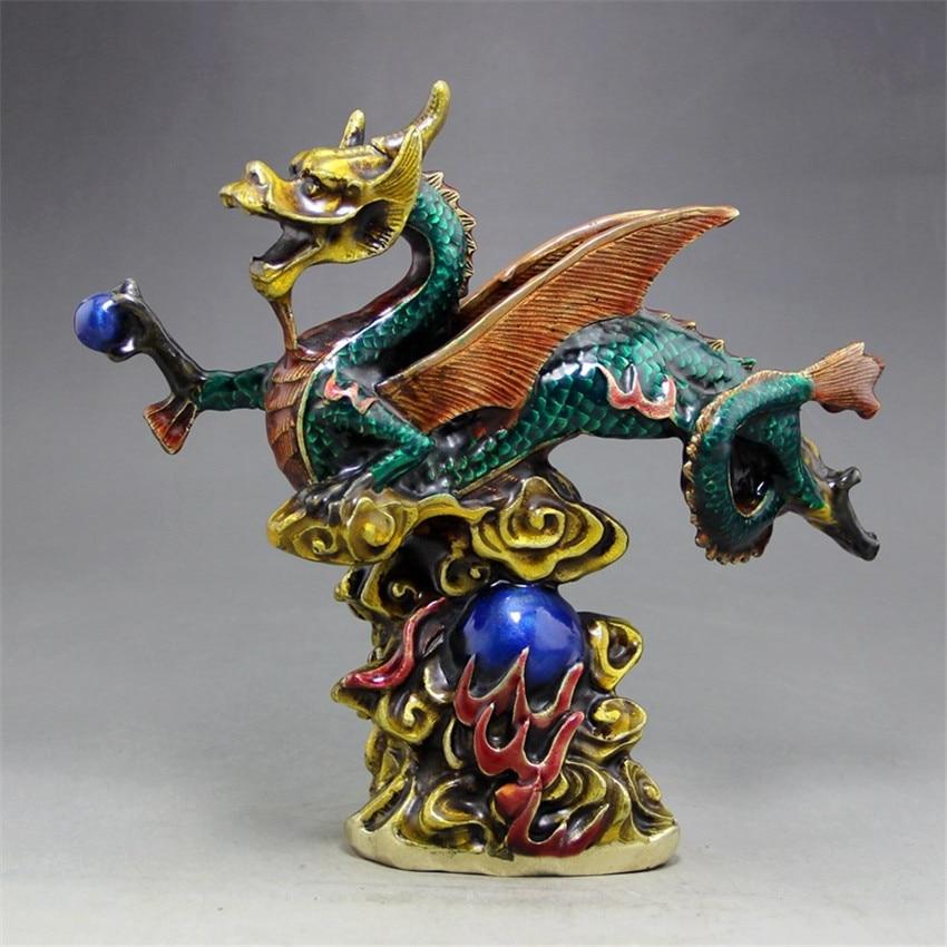 Nouveau chaud Antique cuivre pneu ornements émail artisanat en laiton Dragon maison salon bureau décoration 18*19.5CM (haut * large)