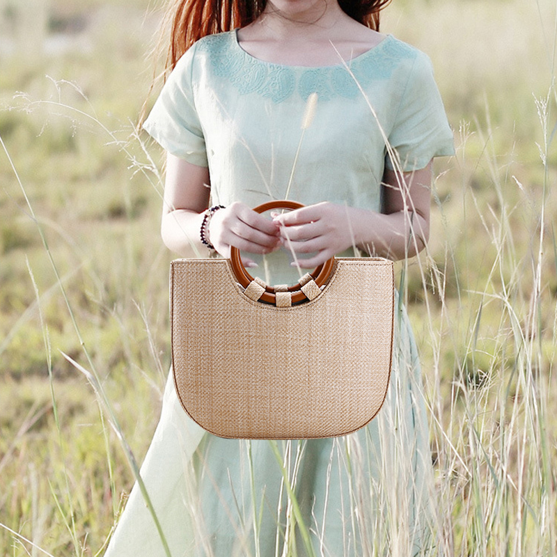 Handmade Vintage Ring Handle Straw Bags 2017 Luxury Top Handle Lady Casual Bag Tote Woven Beach Bag Travel Women's Solid Handbag handmade flower appliques straw woven bulk bags trendy summer styles beach travel tote bags women beatiful handbags