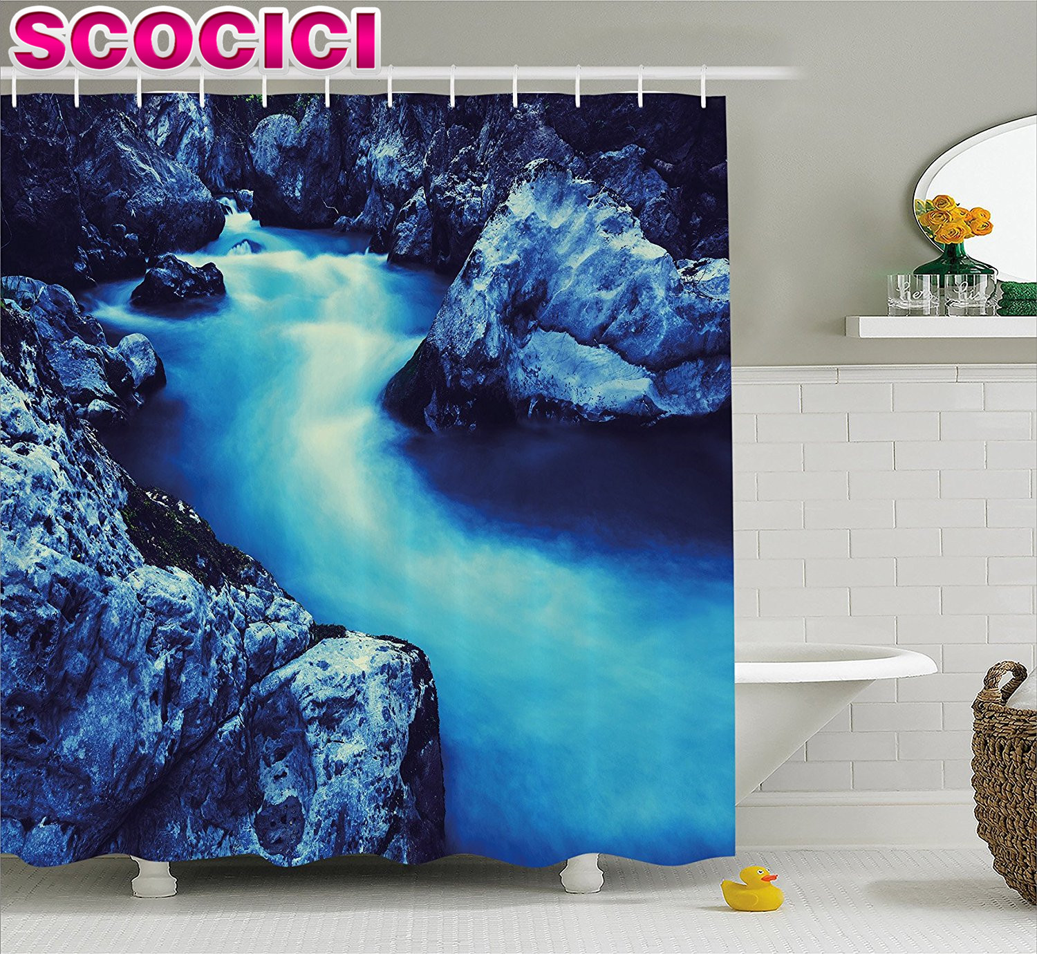 Frozen bathroom decor - Waterfall Decor Shower Curtain Frozen Dangerous Lake With Atmosphere Of A Cave And Snow On The Rocks Fabric Bathroom Decor Set B