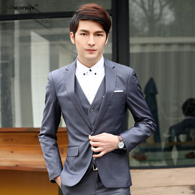 2018 de la boda el novio Trajes para hombres 3 unids set (chaqueta +  chaleco + Pantalones) coreano fiesta Trajes slim fit Hombre traje mariage  homme en ... 952d54474762