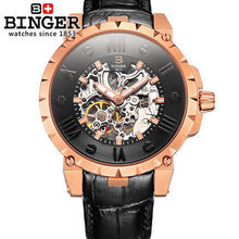 Logo Switzerland Binger watch Automatic man genuine leather straps rose gold watches 100m waterproof Japan movement