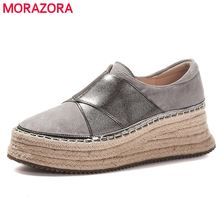 MORAZORA 2020 New arrival paltform shoes woman slip on cow leather Hemp rope thi