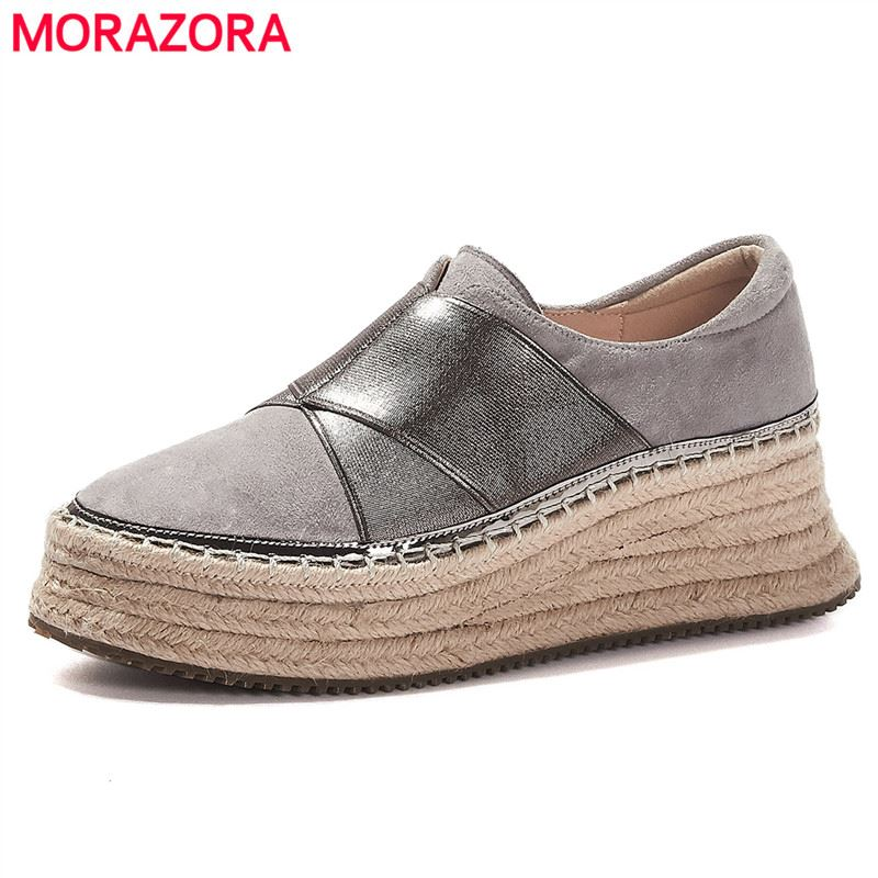 MORAZORA 2020 New Arrival Paltform Shoes Woman Slip On Cow Leather Hemp Rope Thick Bottom Spring Autumn Flat Shoes Ladies Flats