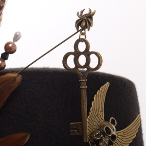 Image 3 - Ladies Black Feather Women Fedoras Steampunk Gears Men Top Hat With Goggles