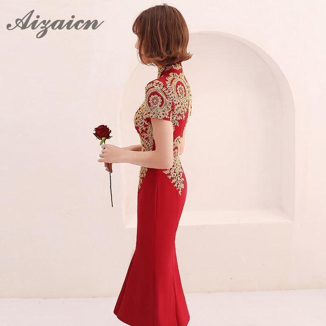 Chinese Vintage Dress Married Bride Cheongsam Girls Red Mermaid Qipao Modern Traditional Wedding Gown Summer Women Sexy Flowers