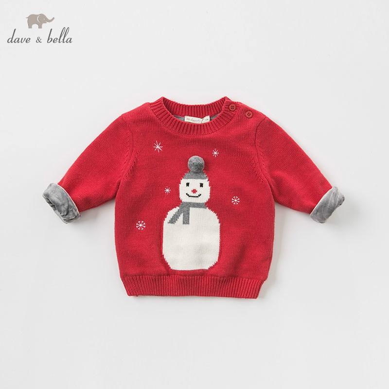 DBJ9156 dave bella baby girls Christmas snowman children print knitted sweater kids autumn pullover toddler boutique tops