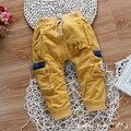 Spring baby boy pantalones de los niños de bolsillo pantalones casuales otoño ropa de bebé de algodón