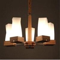 3 5 8 Heads Modern Home Wooden Pendant Lamp Japanese Style Glass Shade Cafe Light Restaurant
